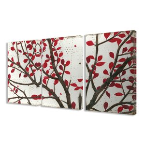 Crimson Leaves 3 Piece Framed Graphic Art on Canvas Set by Stupell Industries