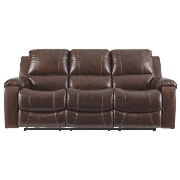 Modern Brand Dundas Leather Reclining Sofa by Millwood Pines by Millwood Pines