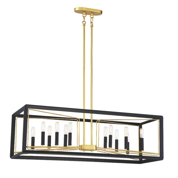 Sable Point 12-Light Rectangle Chandelier by Metropolitan by Minka