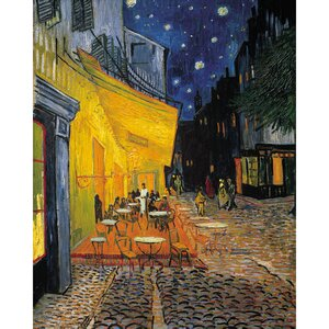 'Café Terrace at Night' by Vincent Van Gogh Oil Painting Print on Wrapped Canvas by Fleur De Lis Living