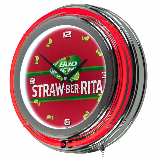 Bud Light Straw-Ber-Rita Neon 14.5 Wall Clock by Trademark Global