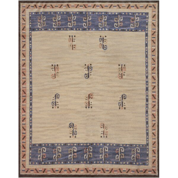 Vintage One-of-a-Kind Swedish Handwoven Wool Ivory Indoor Area Rug by Mansour