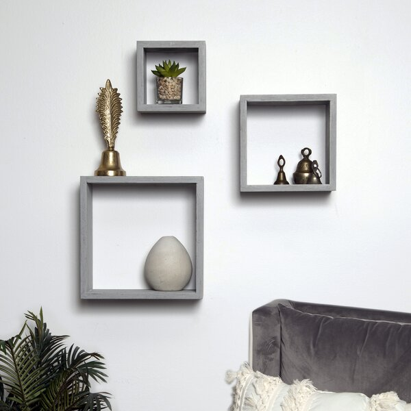 Bottoms Cube 3 Piece Wall Shelf Set by Wrought Studio