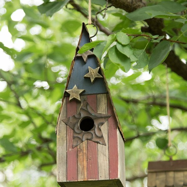 Patriotic Wooden Garden 12.5 in x 4 in x 4.5 in Birdhouse by Glitzhome
