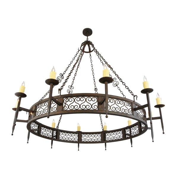 Grimmett 12 - Light Candle Style Wagon Wheel Chandelier by Fleur De Lis Living Fleur De Lis Living