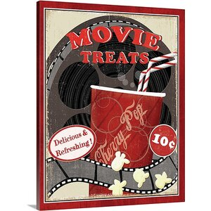 'At the Movies II' by Veronique Charron Vintage Advertisement on Wrap Canvas by Great Big Canvas