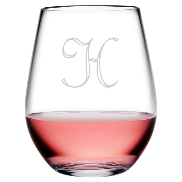 Personalized Script Plastic 20 oz. All Purpose Stemless (Set of 4) by Susquehanna Glass