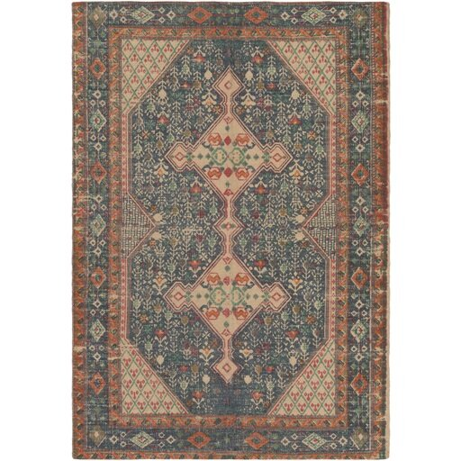 Pascale Hand-Woven Neutral/Blue Area Rug by World Menagerie