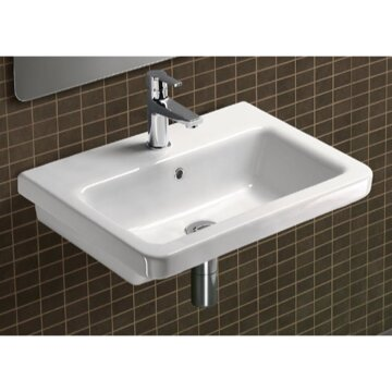 City Ceramic Rectangular Drop-In Bathroom Sink with Overflow by GSI Collection