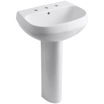 Pedestal Sink Ceramic Overflow Sink Faucet Mount 1009 Product Photo