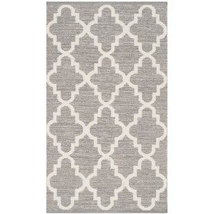 Read Reviews Valley Hand-Woven Cotton Gray/White Area Rug By Alcott Hill