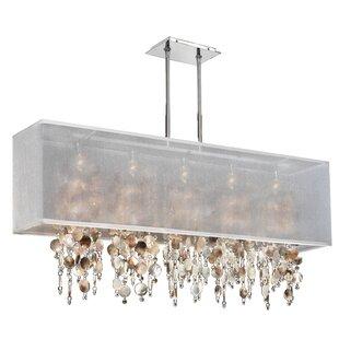Captivating Salerna Modern Rectangular Shaded Trimmed 5 Light Crystal Chandelier