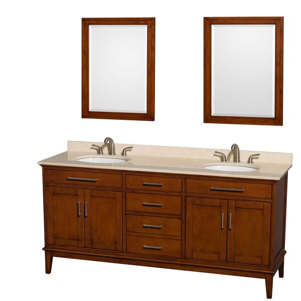 Hatton 72 Double Light Chestnut Bathroom Vanity Set with Mirror by Wyndham Collection