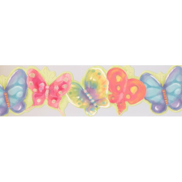 Colorful Butterflies Electric Wall Border by York Wallcoverings
