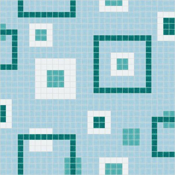 Urban Essentials Balanced Squares 3/4 x 3/4 Glass Glossy Mosaic in Deep Teal by Mosaic Loft