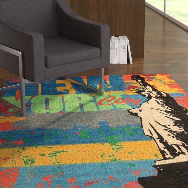 Manny Blue/Red Novelty Rug by Latitude Run