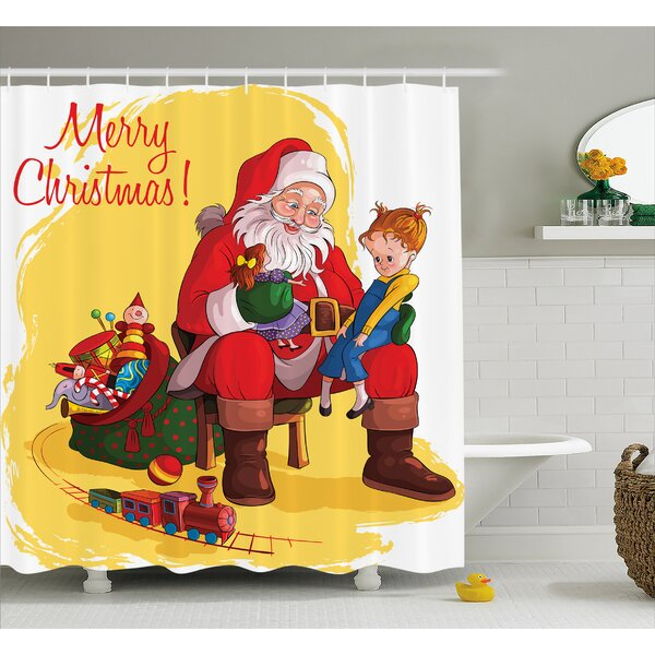 Christmas Kid and Santa Gifts Shower Curtain by The Holiday Aisle