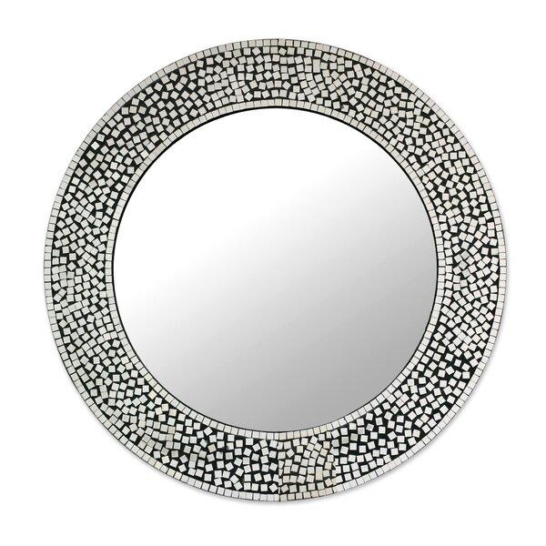 Pinner Mosaic Round Shimmer Accent Mirror by Bloomsbury Market