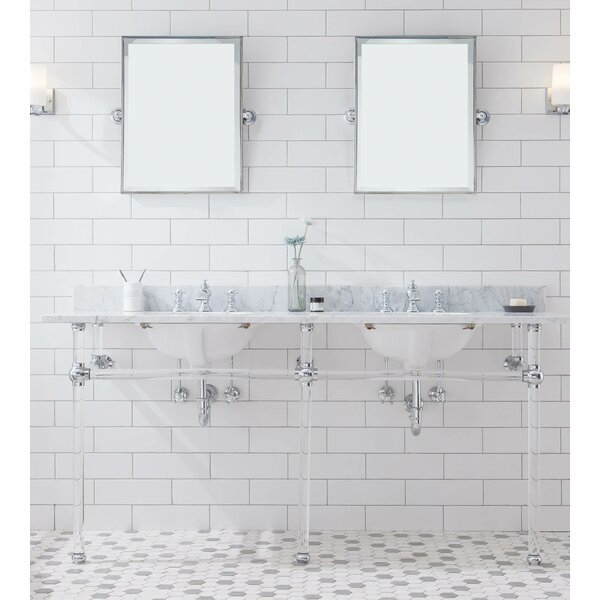 Empire Stone Oval Console Bathroom Sink with Faucet and Overflow