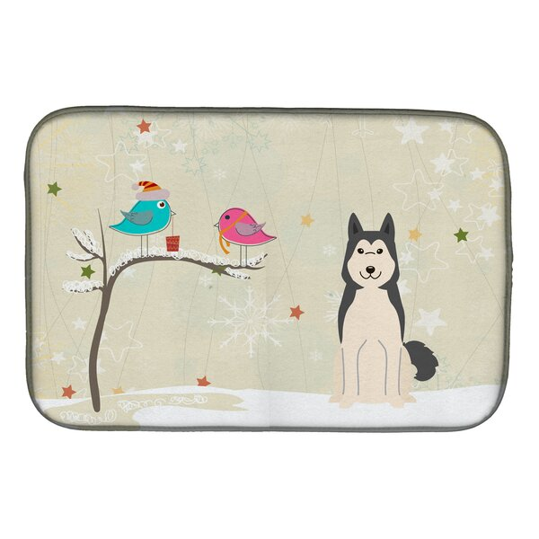 Christmas Presents Between Friends West Siberian Laika Spitz Dish Drying Mat by Caroline's Treasures