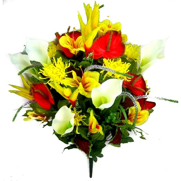 36 Stems Artificial Blooming Calla Lily and Spider Mum Greenery Mixed Bush by Admired by Nature