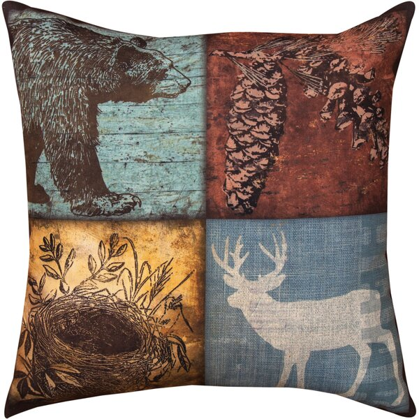 Cabin Sweet Cabin Bear/Deer Throw Pillow by Manual Woodworkers & Weavers