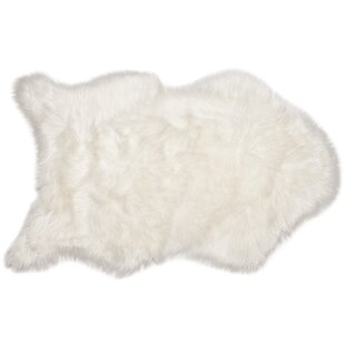 Coupon Faux Sheepskin White Area Rug By Chanasya