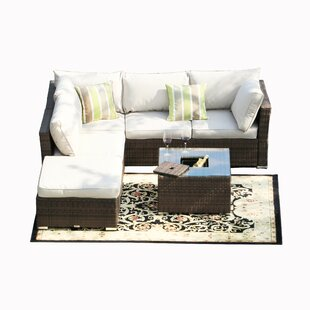 Whitaker 5 Piece Rattan Sectional Seating Group with Cushions By Bay Isle Home