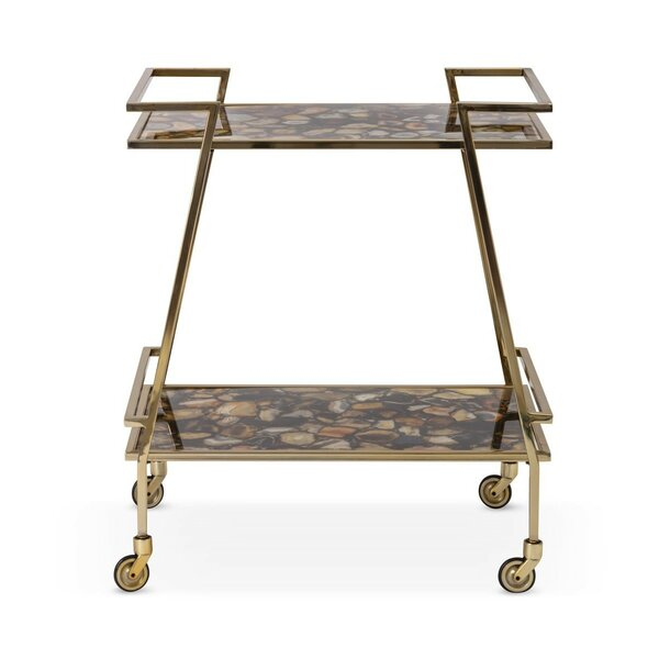 Nakasa Sable Agate Stainless Steel Bar Cart by IMAX IMAX