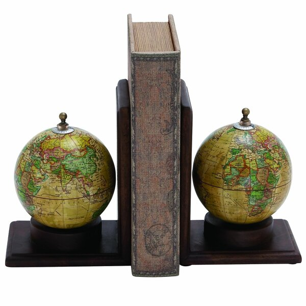 Contemporary Globe Book End (Set of 2) by Three Posts