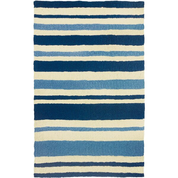 Candide Nautical Stripe Hand-Hooked Blue/Beige Indoor/Outdoor Area Rug by Highland Dunes
