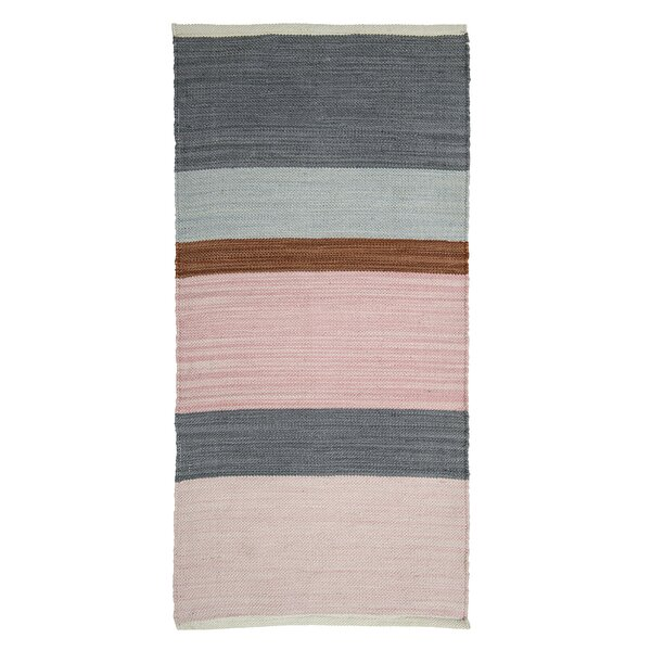 Pressnell Fabric Pink/Gray Area Rug by Bungalow Rose