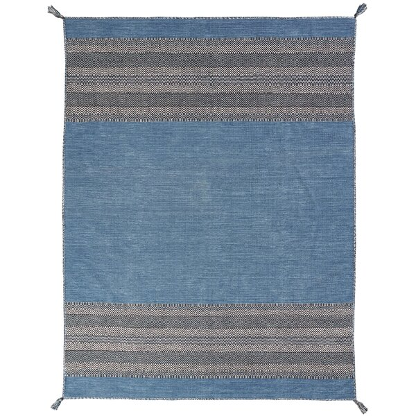 Dolley Hand-Knotted Cotton Teal Area Rug by Gracie Oaks