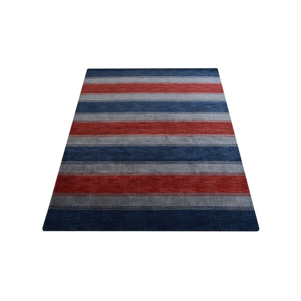 Ry Hand-Knotted Wool Red/Blue Area Rug by Latitude Run