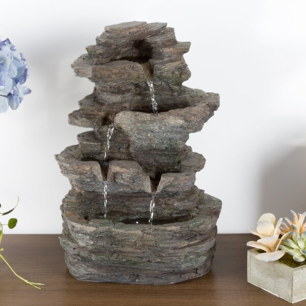 Polyresin Stone Tabletop Fountain with LED Light by Pure Garden