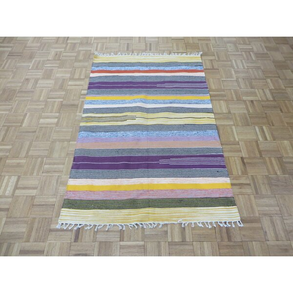 One-of-a-Kind Pasuruan Kilim Flat Weave Hand-Woven Reversible Hand-Knotted Wool Black/Yellow Area Rug by Bungalow Rose