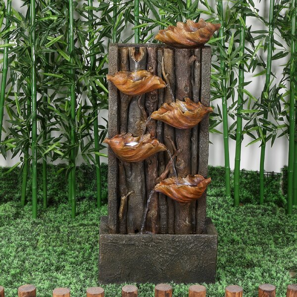 Polyresin Multi Level Leaves Pouring Fountain with LED Light by Hi-Line Gift Ltd.