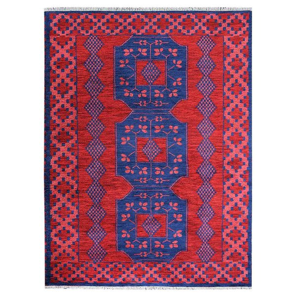 Rackers Hand-Knotted Red/Blue Area Rug by World Menagerie