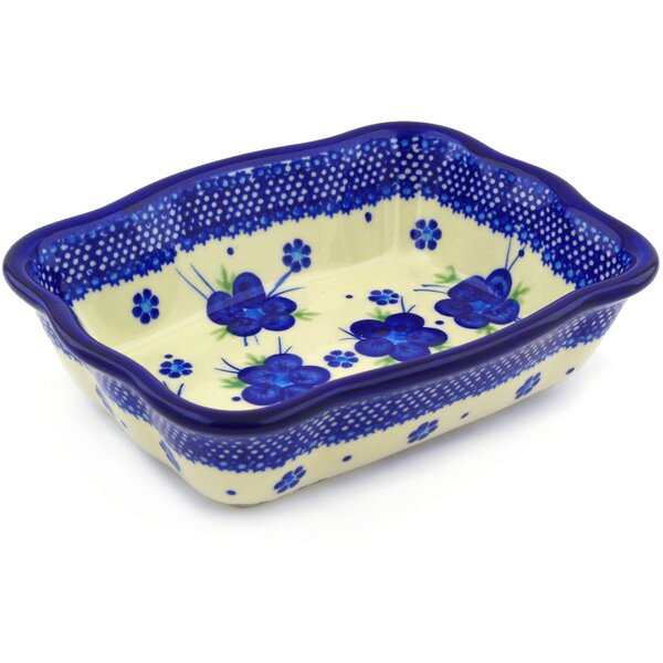 Bleu-belle Fleur Rectangular Non-Stick Polish Pottery Baker by Polmedia