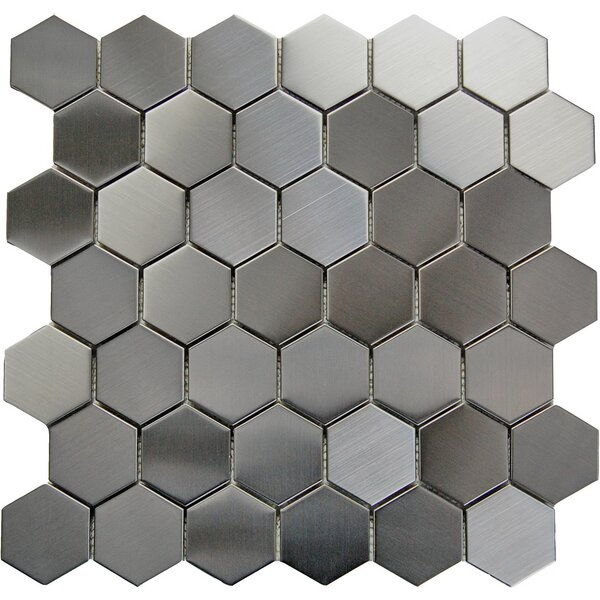 Hex 2 x 2 Metal Mosaic Tile in Gray by Luxsurface