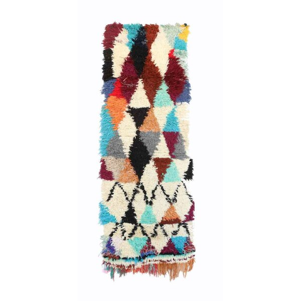 Azilal Vintage Moroccan Hand Knotted Wool Cream/Teal/Dark Red Area Rug by Indigo&Lavender