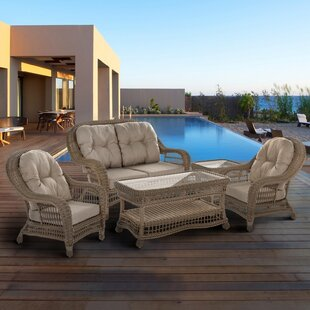 Ophélie 5 Piece Rattan Sofa Set with Cushions By One Allium Way