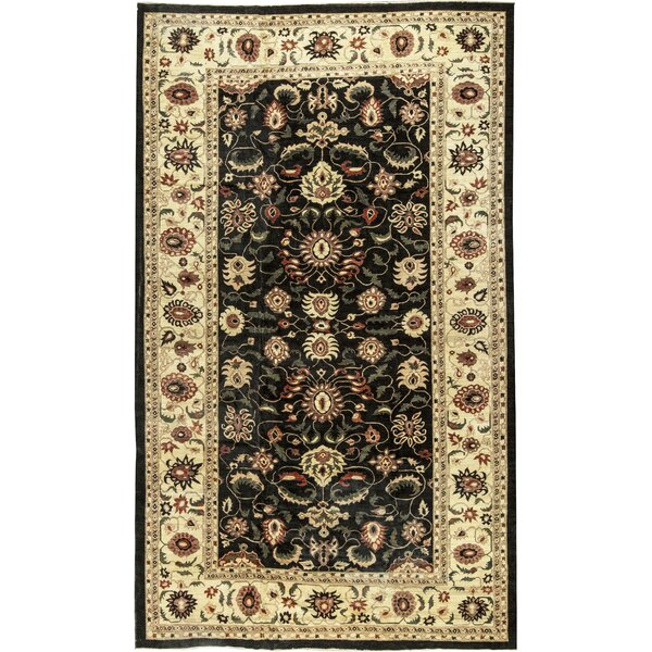 One-of-a-Kind Zarbof Hand-Knotted Wool Black/Gold Area Rug by Bokara Rug Co., Inc.