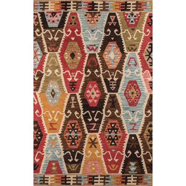 Adilet Hand-Tufted Red/Brown Area Rug by Bloomsbury Market