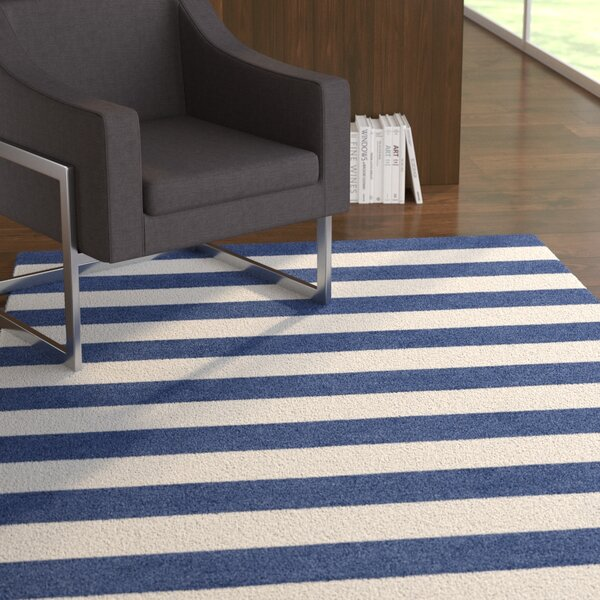 Helbig Stripe Hand-Tufted Wool Navy Blue/White Area Rug by Latitude Run