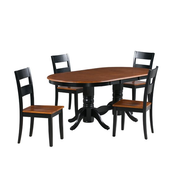 Dahlberg 5 Piece Extendable Solid Wood Dining Set by August Grove