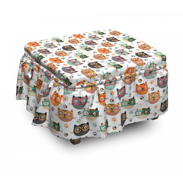 Kitties With Eyeglasses Ottoman Slipcover (Set Of 2) By East Urban Home