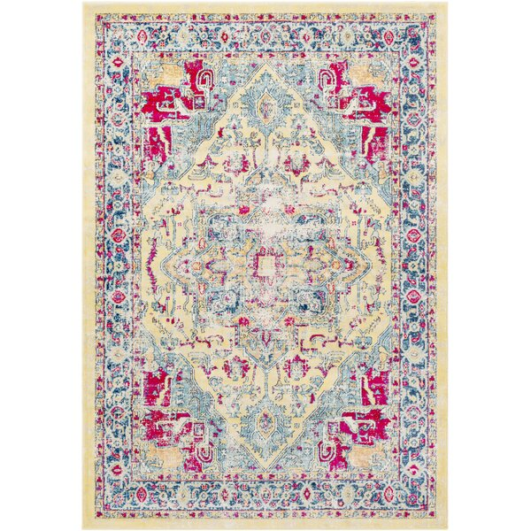 De Funiak Springs Transitional Distressed Bright Yellow/Aqua Area Rug by Bungalow Rose