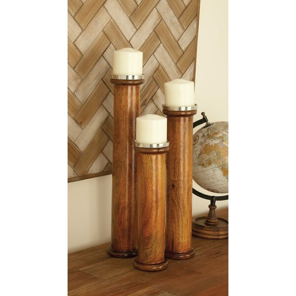 3 Piece Wood and Metal Candlestick Set by Cole & Grey