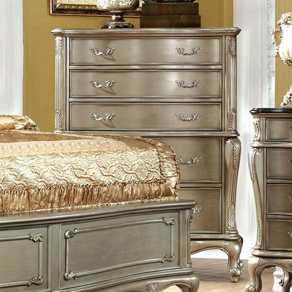 Gioia Floral Carved 5 Drawer Chest by Fleur De Lis Living